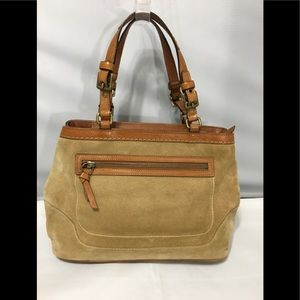 Coach suede tan carry all tote bag E05S-7476